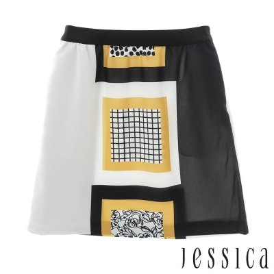 JESSICA-復古色塊幾何圖紋裙子