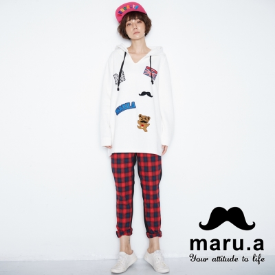 maru-a麻洛野-刺繡拼接格紋長褲