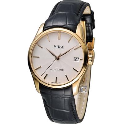 MIDO Belluna ll 永恆優雅80小時動力儲存機械錶-白x玫瑰金色/33mm