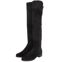 Stuart Weitzman 5050 麂皮拼接過膝長靴(黑色)