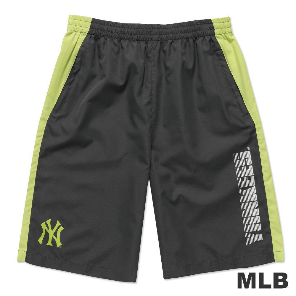 MLB-紐約洋基隊風衣布撞色運動短褲-深灰(男)