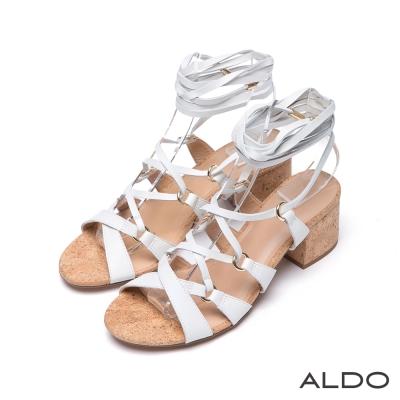 ALDO-真皮交叉金屬釦繫帶軟木塞粗跟涼鞋-優雅白色