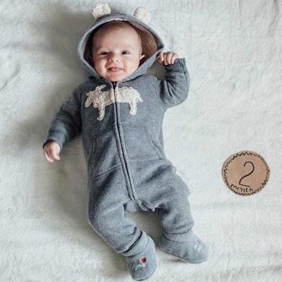 Carters-美國-淺灰麋鹿圖案熊熊耳刷毛連身衣