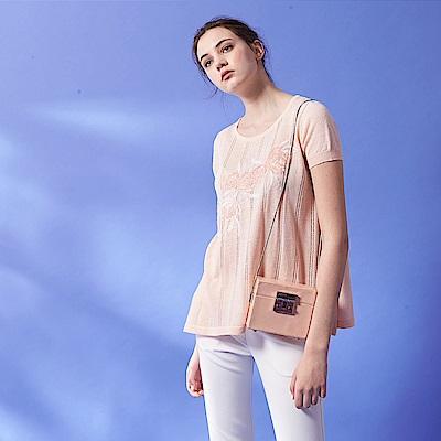 ICHE 衣哲 優雅3D立體蕾絲雕花亞麻造型親膚針織上衣-粉