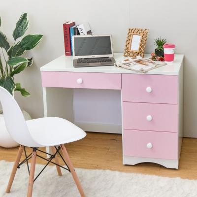 Birdie南亞塑鋼-貝妮3.4尺粉色塑鋼書桌-103x60x75cm