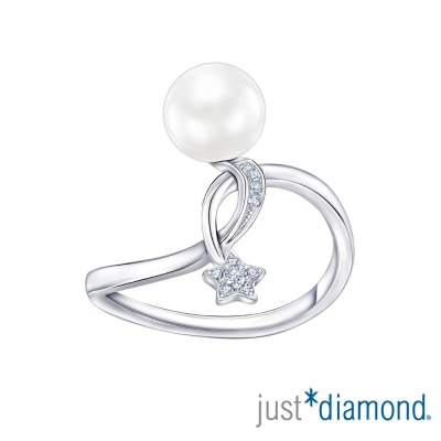 Just Diamond 閃閃星晨系列珍珠18K金鑽戒-簡約版