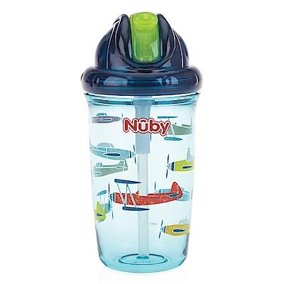 Nuby 晶透學飲杯細吸管300ml-藍(12M+)