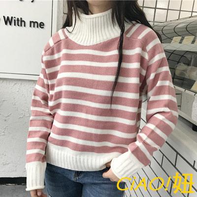 甜美高領撞色條紋長袖毛衣 (共三色)-CIAO妞