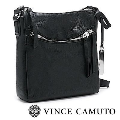 Vince Camuto 簡約時尚斜背真皮隨身包-黑色