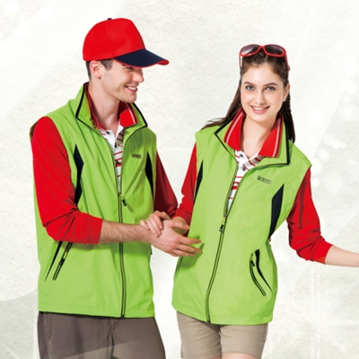 【SPAR】防潑水處理中性款單面穿背心(SP7621A)螢光綠色