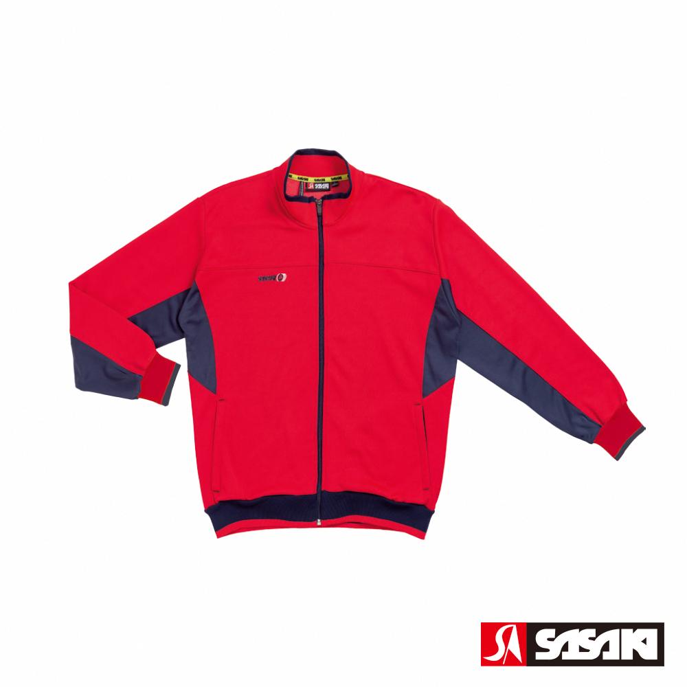 SASAKI 吸濕排汗功能針織運動夾克-男-紅/丈青