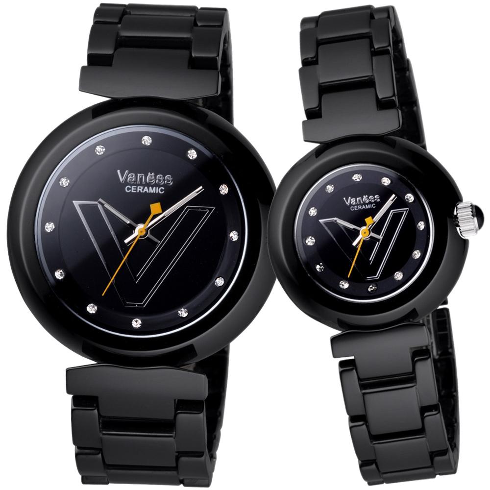Vaness 輕甜美媛晶鑽時尚陶瓷對錶-黑