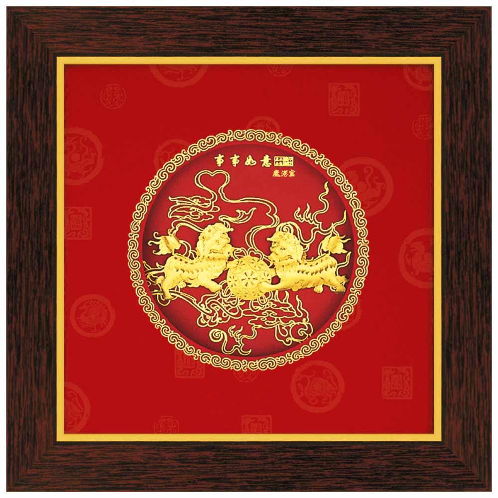 鹿港窯-立體金箔畫-事事如意(圓形系列20.6x20.6cm)