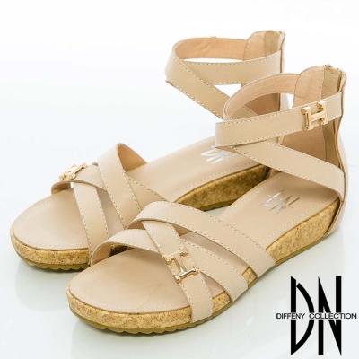 DN 極簡休閒 經典素色交叉楔型涼鞋 米