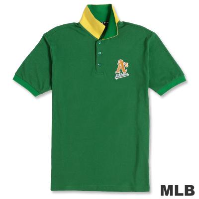 MLB-奧克蘭運動家隊運動電繡POLO衫-綠(男)