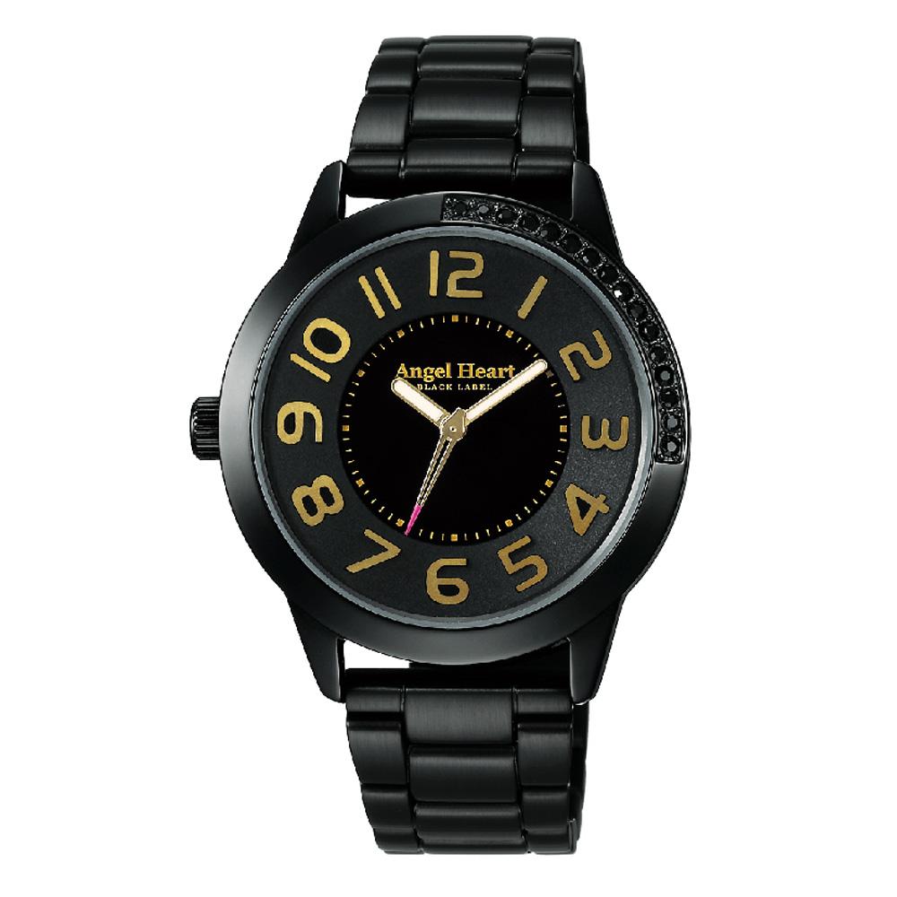 Angel Heart  Regular 立體衝擊水鑽鑲崁黑鋼腕錶-黑金/37mm