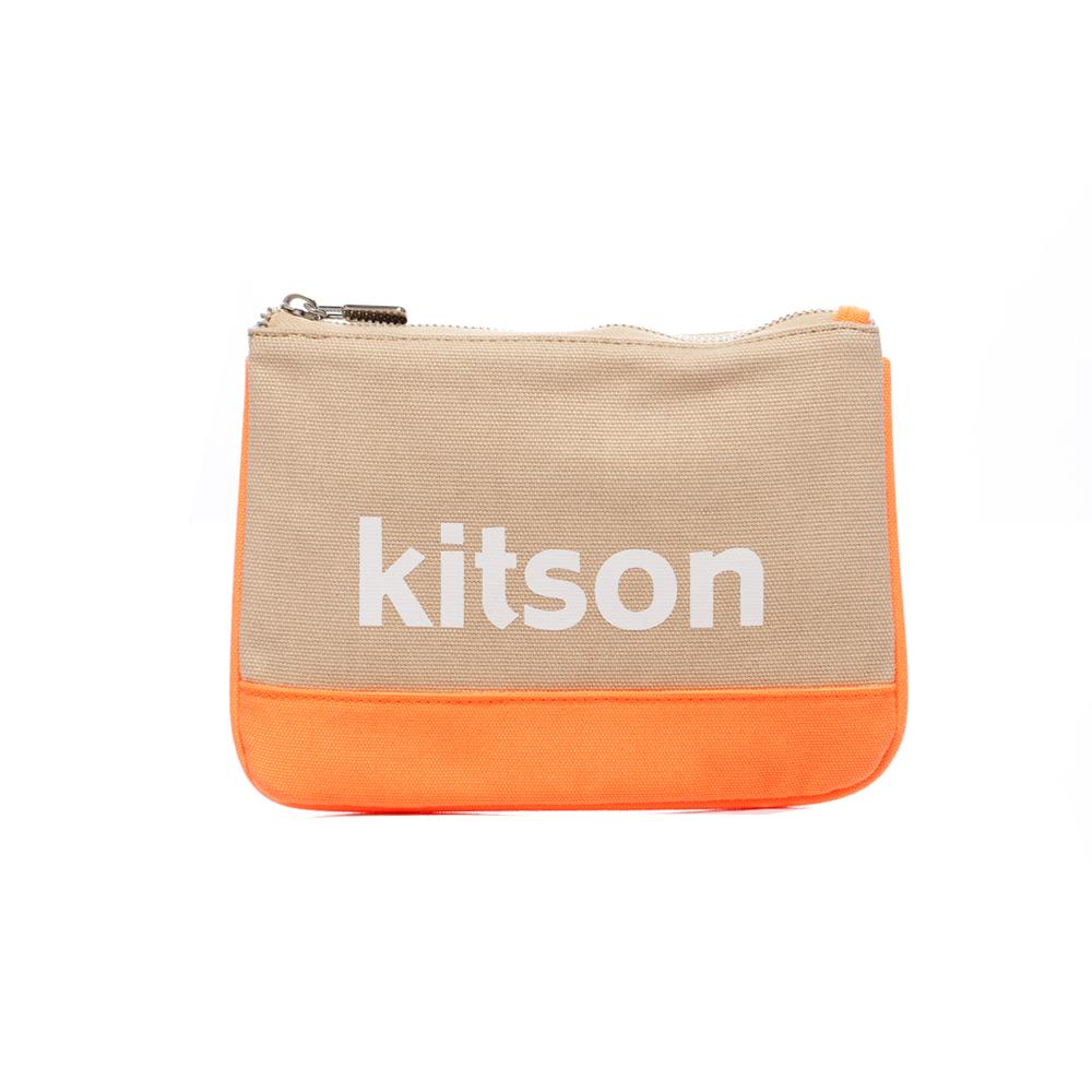 kitson 螢光帆布方形化妝/隨身包-BEIGE