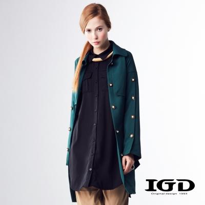 IGD英格麗 經典修身長版風衣外套-深綠