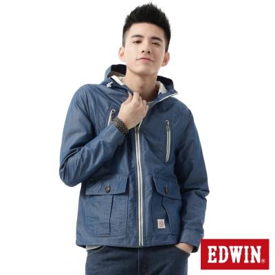 EDWIN-外套-拼接單層風衣外套-男-藍色