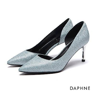 達芙妮DAPHNE 高跟鞋-金蔥挖空尖頭細高跟鞋-淺藍