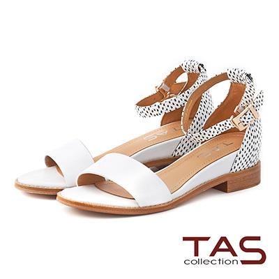 TAS 一字拼色後包踝繫帶內增高涼鞋-點點白