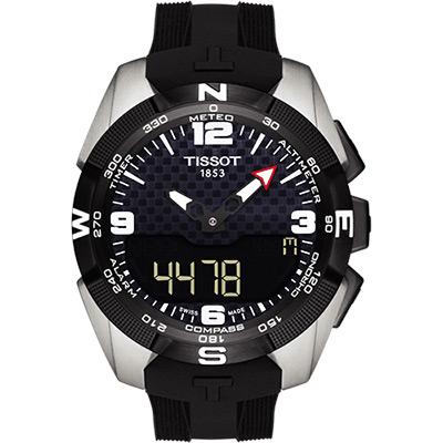 TISSOT T-TOUCH 鈦金屬太陽能觸控腕錶 NBA 特別版腕錶-黑/45mm
