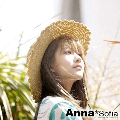 AnnaSofia 花邊鏤滾織 寬簷遮陽草帽淑女帽草帽(米杏系)