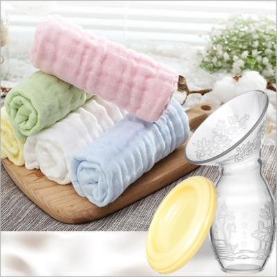 全矽膠親集奶器+2件澎澎紗巾組合(隨機出貨)