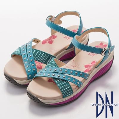 DN 渡假漫步 MIT經典交叉綴水鑽厚底涼鞋-藍