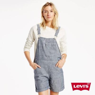 吊帶褲 牛仔 連身輕磅牛仔短褲 - Levis