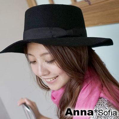 AnnaSofia-平頂側結單色-純羊毛圓帽紳士帽-酷黑
