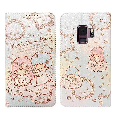 Kikilala 雙子星 Samsung S9 粉嫩系列彩繪磁力皮套(花圈)