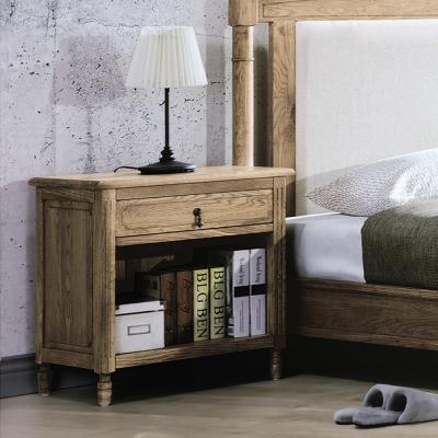 Bernice-諾伊白橡全實木床頭櫃-60x41x65cm