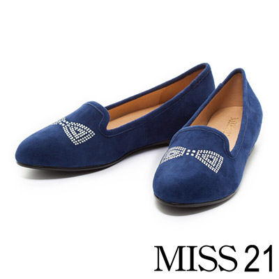 MISS 21 羊麂皮蝴蝶水鑽內增高樂福鞋-藍