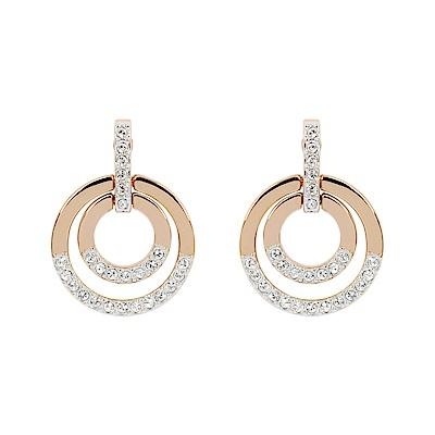 SWAROVSKI 施華洛世奇 璀璨水晶鏤空雙圓形玫瑰金耳墜耳環