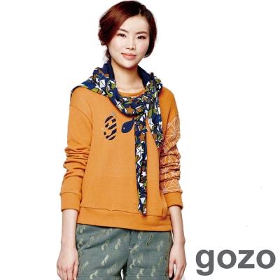 gozo-小魚LOGO印花圓領上衣-橘黃