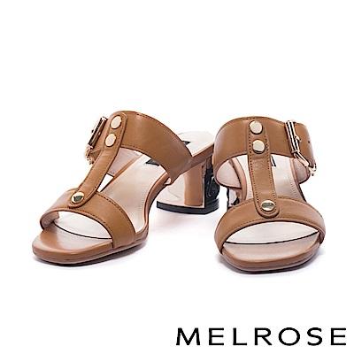 拖鞋 MELROSE 內斂奢華金屬雙字帶羊皮高跟拖鞋-駝