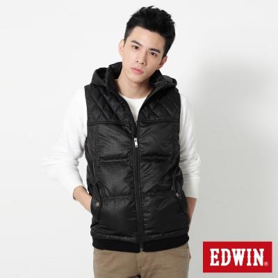 EDWIN菱格羽絨連帽背心-男-黑色