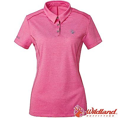 Wildland 荒野 0A61629-22蜜粉紅 女雙色POLO領排汗上衣