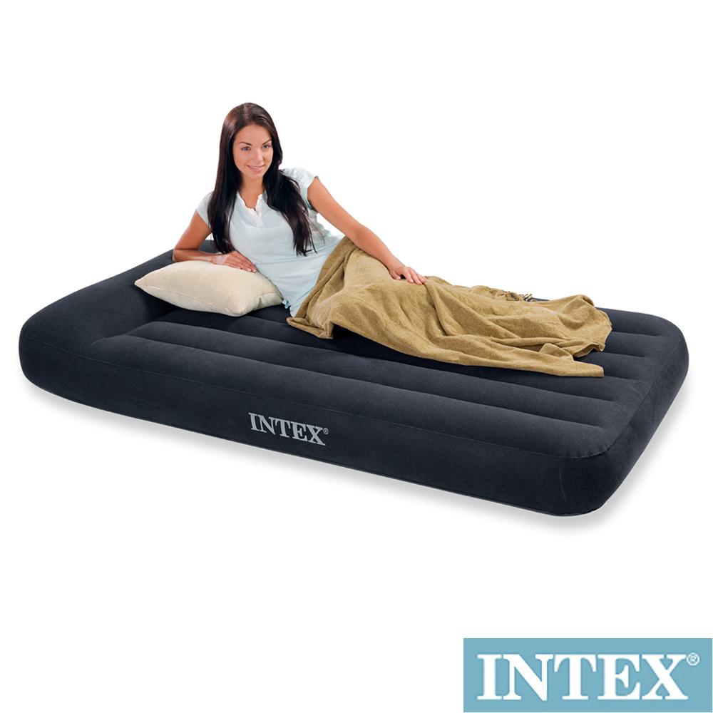 INTEX《舒適型》單人加大植絨充氣床墊(寬99cm)-有頭枕 (66767)