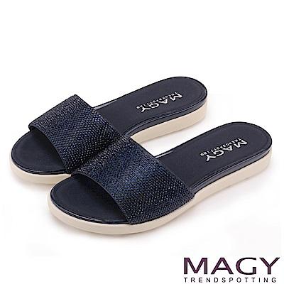 MAGY 耀眼時尚 奢華燙鑽Q彈厚底拖鞋-深藍