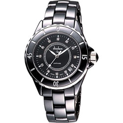 Diadem 黛亞登 F4 晶鑽時尚陶瓷手錶-黑/40mm