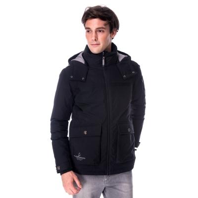 【hilltop山頂鳥】男款WS抗風防小雨蓄熱羽絨短大衣F22MT8黑