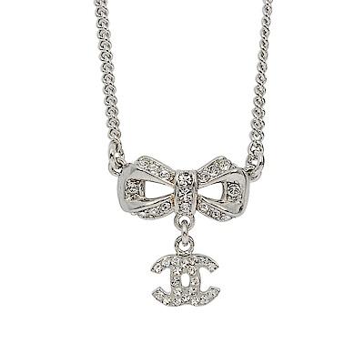 CHANEL香奈兒 經典雙C LOGO 蝴蝶結鑲嵌水鑽銀色項鍊