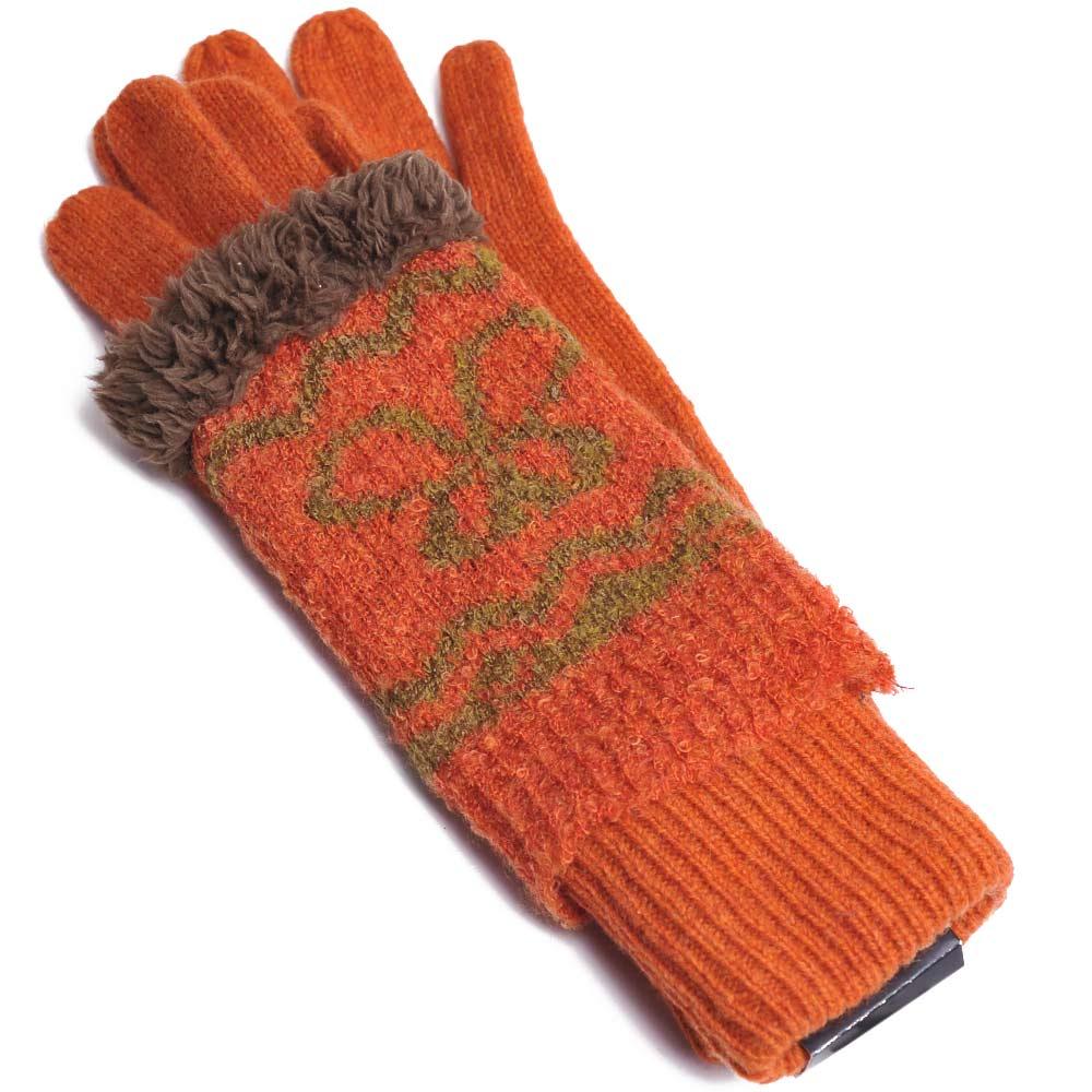 ANNA SUI 兩用露指二重造型毛線手套(橘)