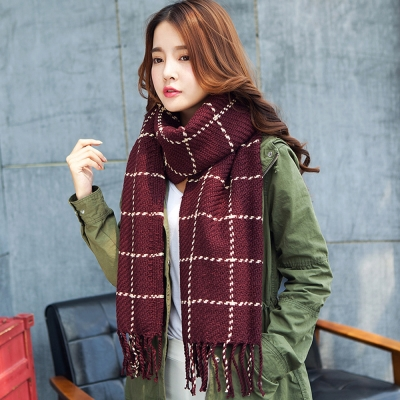 幸福揚邑 韓版冬季經典百搭情侶粗毛線格子加長披肩圍巾-酒紅
