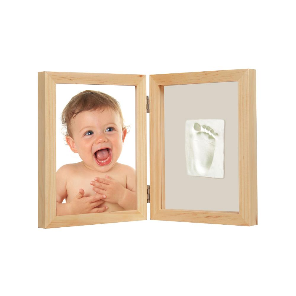 Adora珍愛回憶系列 寶寶手足模印相框(極簡桌上型-原木色)