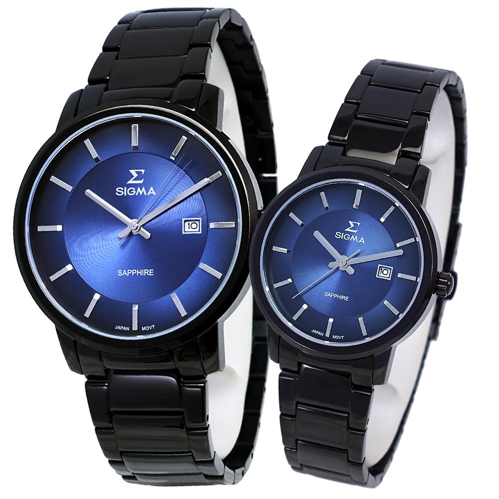 SIGMA 質感簡約藍寶石時尚情人對錶-藍X黑/30/40mm