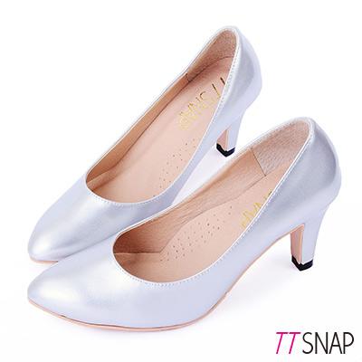 TTSNAP-高跟鞋-MIT時尚小尖頭真皮軟Q跟鞋