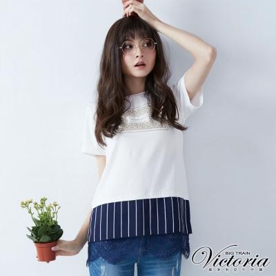 Victoria 異材質拼接長版短袖T-女-白色